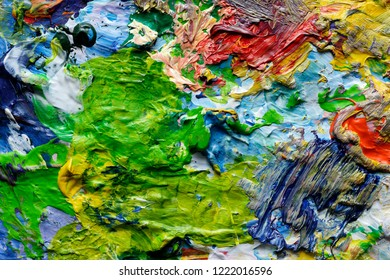 Backgrounds and textures: colorful paint spots, closeup shot, abstract texture