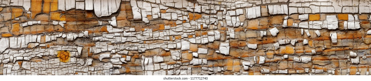Backgrounds and textures: cracked white paint on very old wooden plank