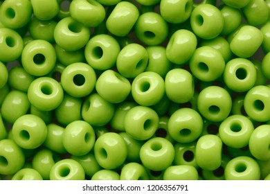 Backgrounds and textures: green beads assortment, abstract background