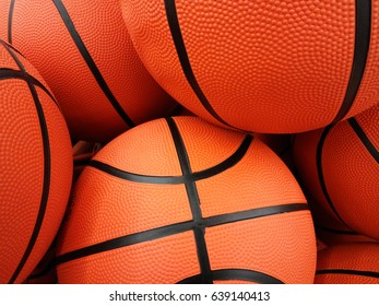 Backgrounds and textures: group of orange basketball balls, sports abstract