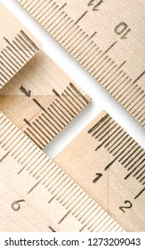 Backgrounds and textures: group of wooden rulers, educational abstract