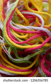 Backgrounds and textures: multicolor threads, closeup shot, abstract background