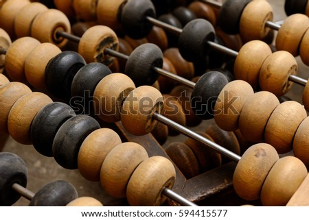 Backgrounds and textures: old abacus, close up shot, accounting abstract