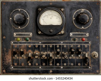 Backgrounds and textures: very old control panel with switches, lamps, indicators, scals and dials