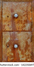 Backgrounds and textures: very old rusty metal cabinet doors
