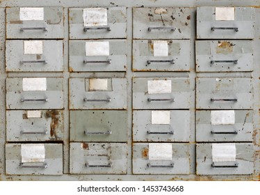 Backgrounds and textures: vintage grey metal cabinet with drawers
