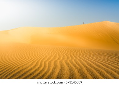Background/wallpaper of a large yellow sand dune in desert area with bright and clear blue sky, vivid colors. Death Valley National Park, USA