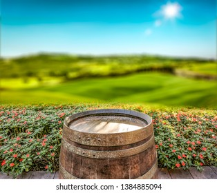 Backgrounf of empty barrel and space for your decoration with Italy landscape. Summer time