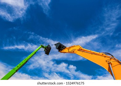 Backhoe claws in agricultural fair in Brazil