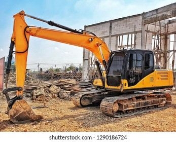backhoe to excavate the soil on the ground.construction sit excavator.wheelloader