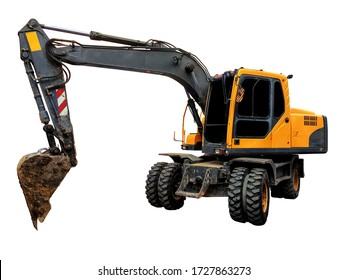 backhoe isolated,  yellow excavator in construction site isolated on white background. clipping path