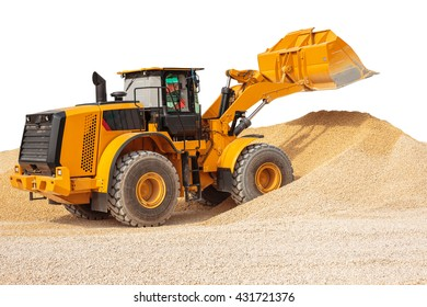 Backhoe loader or bulldozer - excavator with clipping path isolated on white background