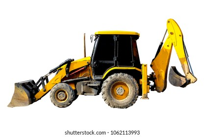 Backhoe Loader isolated on white background with clipping path.