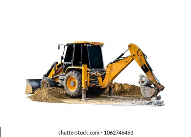 Backhoe loader truck digging sand and stone  isolated on white background with clipping path.