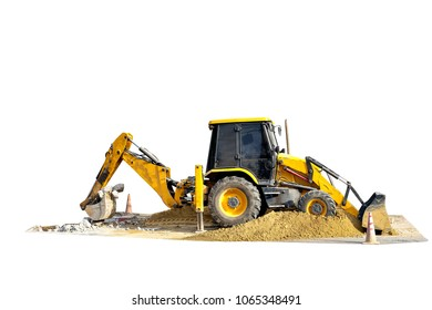 Backhoe loader truck working at construction site isolated on white background with clipping path.