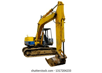 Backhoe truck parking in construction site isolated on white with clipping path.