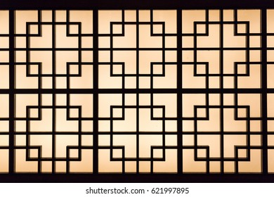 A backlight asian pattern in the dark