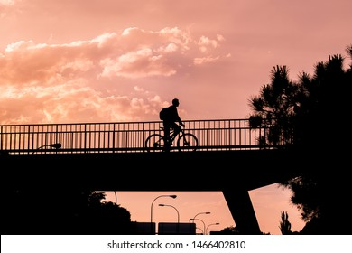 Backlight of a cyclist passing by a bridge