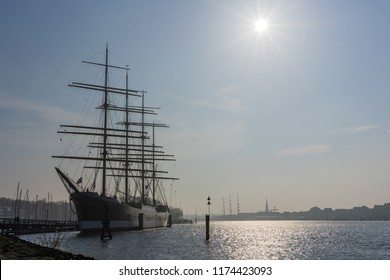 Backlight portait of the Passat sailboat, anchored at the harbour of Luebeck, Travemuende, in Germany