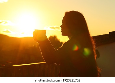Backlight silhouette of a tenant drinking coffee contemplating sunset from a balcony