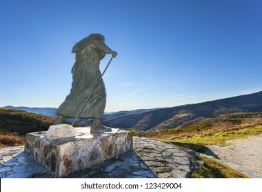 Backlighting of Monument to pilgrims on the Camino de Santiago,Lugo.