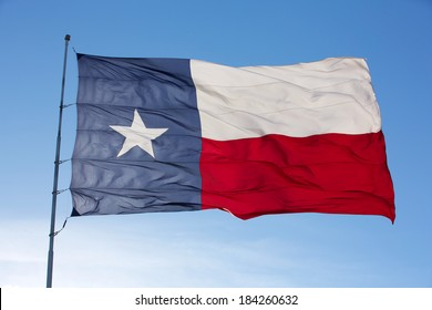 Backlit close up of the State Flag of Texas