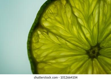 Back-lit lime slices