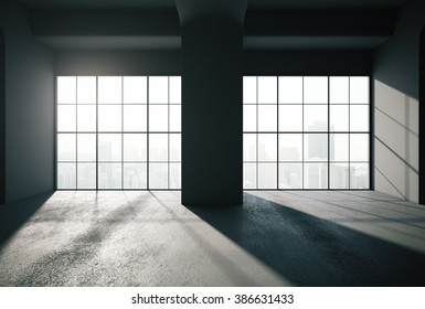Backlit modern black room interior with tall windows revealing big city view. 3D Render