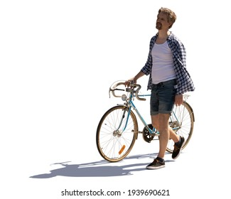 Backlit photo of a man in summer walking with a bike isolated on white background