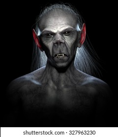 Backlit portrait of a classic vampire. High quality 3D rendered.