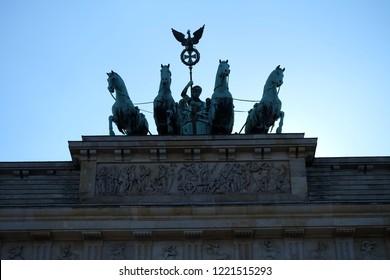 Backlit Quadriga on Brandenburger Tor in Berlin