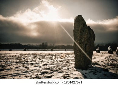 Backlit stone at the Devils coits Stanton harcourt Oxfordshire