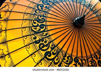 Back-lit traditional Burmese umbrella