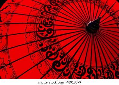 Backlit traditional Burmese umbrella
