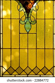 Backlit victorian-style stained glass Window.