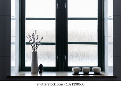 Backlit window view with willow branch and opaque glass
