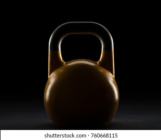 Backlit yellow competition kettlebell silhouette on a gym floor with potential text / writing / copy space on and above kettlebell