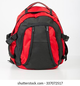 Backpack black and red isolated on White Background
