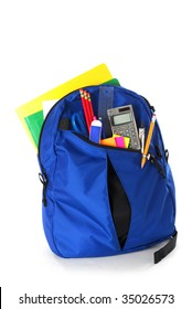 Backpack full of back to school supplies studio isolated on white background