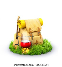 Backpack with giutar and Campfire on grass at white background. Unusual travel background
