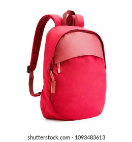 Backpack Isolated on White Background. Side View of Red School Pack with Zippered Compartment. Pocket Travel Daypack with Shoulder Straps and Haul Loop at the Top