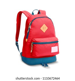 Backpack Isolated on White Background. Red College Bag. Side View of School Pack with Zippered Compartment. Pocket Travel Daypack with Shoulder Straps and Haul Loop at the Top
