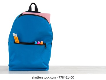 Backpack with school supplies, on white background isolated