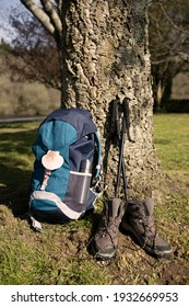 Backpack with seashell symbol of Camino de Santiago, trekking boots and poles leaning on a tree. Pilgrimage to Santiago de Compostela