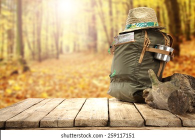 backpack and table of free space for you in forest