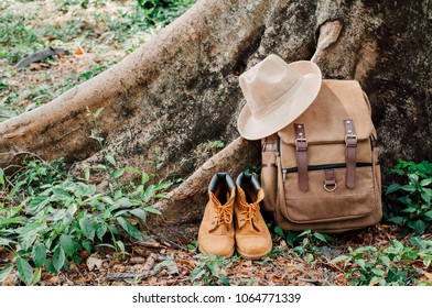 Backpack for travel. Brown shoes And hat Relax in the day