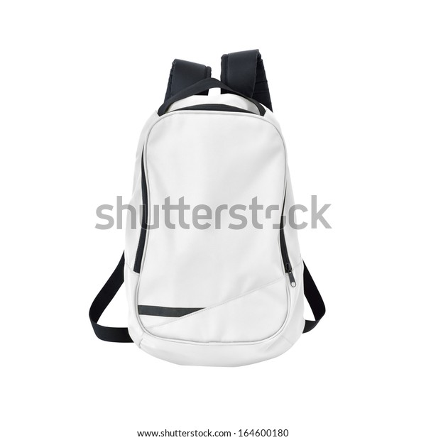 Backpack of white color with black straps isolated over white background with clipping path. Back to school.