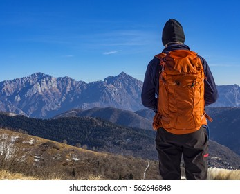 Backpacker in the alps