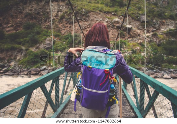 A backpacker enjoy trekking in Inca Trail Km82, Machu Picchu - P