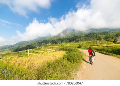 Backpacker exploring the stunning landscape on the mountains of northern Tana Toraja, South Sulawesi, Indonesia. Country road crossing rice fields of Batutumonga. Concept of people traveling.